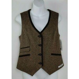 Pendleton Brown Wool Silk Blend Button Front Herri
